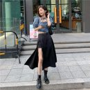 skirt Spring 2021 S, M Denim top, split skirt Mid length dress commute A-line skirt Solid color Type A 18-24 years old Korean version