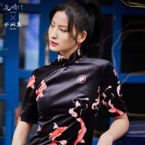 cheongsam Autumn 2020 S,M,L black three quarter sleeve Short cheongsam ethnic style Low slit daily Round lapel Animal design 25-35 years old