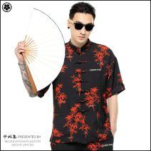 Tang costume Semi free set black 165/80A,170/84A,175/88A,180/92A,185/96A 2019 summer Red bamboo short sleeve Tang suit polyester fiber youth leisure time Calico Plants and flowers
