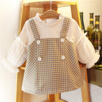 Dress khaki female Other / other The recommended height is 73-80cm tag 1, 80-85cm tag 2, 85-90cm tag 3, 90-95cm tag 4 and 95-100cm tag 5 Other 100% spring and autumn Korean version Long sleeves lattice Splicing style Class A 12 months, 6 months, 9 months, 18 months, 2 years, 3 years, 4 years