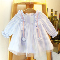 Dress female Other / other Other 100% spring and autumn Korean version Long sleeves lattice cotton A-line skirt 12 months, 6 months, 9 months, 18 months, 2 years, 3 years, 4 years