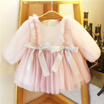 Dress Pink female Other / other The recommended height is 73-80cm tag 1 / 3, 80-85cm tag 2 / 5, 85-90cm tag 3 / 7, 90-95cm tag 4 / 9, 95-100cm tag 5 / 11 and 100-105cm tag 13 Other 100% spring and autumn Long sleeves Solid color other Splicing style Class A