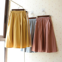 skirt Spring 2021 Average size Mid length dress Sweet High waist A-line skirt Solid color Type A 25-29 years old 1969# 71% (inclusive) - 80% (inclusive) other cotton pocket 101g / m ^ 2 (including) - 120g / m ^ 2 (including) college