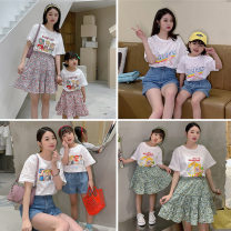 Parent child fashion Alice T-shirt, relaxed bear T-shirt, five Princess T-shirt, six Princess T-shirt, pink floral skirt, green floral skirt, jeans shorts Women's dress female Other / other 80cm, 90cm, 100cm, 110cm, 120cm, 130cm, 140cm, mom s, mom m, mom L summer Korean version Thin money suit cotton