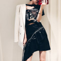 skirt Spring of 2019 L,M,S black Middle-skirt street High waist Ruffle Skirt Solid color Type H 25-29 years old other PU Europe and America