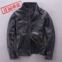 leather clothing Fashion City BOMikeRonny Leather clothes have cash less than that is registered in the accounts stand collar autumn Slim zipper leisure time youth tide top layer leather KWM-707 Cloth hem Side seam pocket Multiple pockets Non iron treatment Animal pattern black S,M,L,XL,2XL,3XL