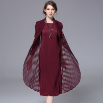 Dress Summer 2020 Black, red, Burgundy, Navy, green Average size longuette singleton  Long sleeves Sweet Polo collar Loose waist Solid color Socket other routine Others 30-34 years old Type H LAN Meng has an appointment fold JWKW00166222YS5076 31% (inclusive) - 50% (inclusive) Crepe de Chine hemp