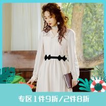 Dress Spring 2021 Off the shelf Beige S,M,L Mid length dress singleton  Long sleeves commute V-neck High waist Solid color Socket Big swing routine Others 25-29 years old Type H Annie Chen Retro Contrast bow belt lace dress More than 95% other