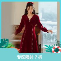 Dress Winter 2020 claret S,M,L Mid length dress singleton  Long sleeves commute V-neck High waist Solid color Socket Big swing shirt sleeve Others 25-29 years old Type X Annie Chen Retro V-neck pearl dress with Brooch yfd0773-x More than 95% other other