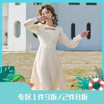 Dress Spring 2021 Apricot S,M,L Mid length dress singleton  Long sleeves commute square neck High waist Solid color zipper Princess Dress routine Others 25-29 years old Type X Annie Chen Retro Embroidery, Auricularia auricula, zipper Yac1027 high waist dress with elastic front collar More than 95%