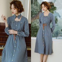 Dress Spring 2021 Blue and white, blue and white pre-sale S,M,L Mid length dress singleton  Long sleeves commute other High waist lattice Single breasted Big swing bishop sleeve Others 25-29 years old Type X Annie Chen Retro Button Double girdle Plaid Dress yhc1053