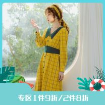 Dress Spring 2021 Ginger in stock S,M,L Mid length dress singleton  Long sleeves commute V-neck High waist lattice Single breasted Big swing shirt sleeve Others 25-29 years old Type X Annie Chen Retro Contrast stitching dress with collar and waist yrc1024-f