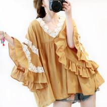 Women's large Spring of 2019 Ginger  Big size average shirt singleton  Sweet Socket three quarter sleeve V-neck routine hemp pagoda sleeve B880 Lace stitching Mori