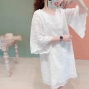 Dress Summer of 2019 Pure white lace Average size Middle-skirt singleton  elbow sleeve Sweet Crew neck Loose waist Socket A-line skirt pagoda sleeve Type A Lace B724 solar system