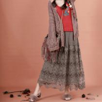 skirt Autumn of 2018 Average size Earth color longuette commute A-line skirt Lace Retro