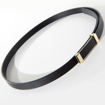 Belt / belt / chain top layer leather female belt Versatile Single loop Youth, middle age Smooth button Glossy surface alloy