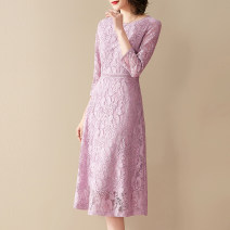 Dress Spring 2021 Pink M,L,XL,2XL,3XL,4XL Mid length dress singleton  three quarter sleeve commute Crew neck middle-waisted Solid color zipper routine Ink and wash Ol style Zipper, lace J327 31% (inclusive) - 50% (inclusive) Lace cotton