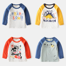 T-shirt White / blue letters, gray / orange Dino Dinosaur, bean green / blue two dogs, white / water blue hi dinosaur, white / orange ready go, white / yellow Stegosaurus, white / sky blue tractor, white / yellow van Wapypy / naughty 90cm,100cm,110cm,120cm,130cm,140cm neutral spring and autumn cotton