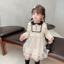 Dress Beige female Little elephant Size 80 is about 80C, Size 90 is about 90cm (model size, size 100 is about 100C, Size 110 is about 110C, Size 120 is about 120c, Size 130 is about 130c, size 140 is about 140C) Cotton 95% polyurethane elastic fiber (spandex) 5% spring and autumn princess other other