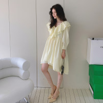 Dress Summer 2021 Yellow, black S,M,L,XL Mid length dress singleton  Nine point sleeve commute V-neck Loose waist Solid color Socket Irregular skirt shirt sleeve Type H Korean version Fold, asymmetric 1E3395 91% (inclusive) - 95% (inclusive) cotton