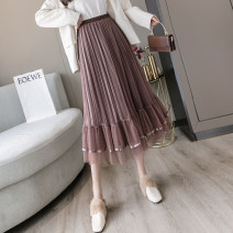 skirt Autumn 2020 Average size Brown, apricot, grey, black Mid length dress Versatile High waist A-line skirt Solid color Type A 30% and below 401g / m ^ 2 (inclusive) - 500g / m ^ 2 (inclusive)