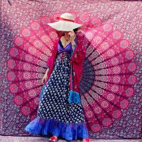Dress Summer of 2019 1 no return Average size longuette singleton  Sleeveless Sweet V-neck High waist Socket other camisole cotton Bohemia