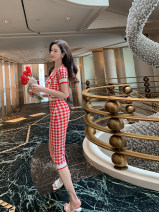Fashion suit Spring 2021 Average size Red checked jacket, red checked sling, red checked skirt POS21325AA42 96% and above