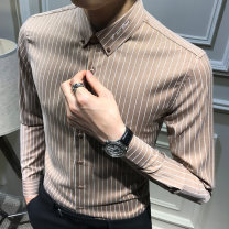 shirt Fashion City Others S,M,L,XL,2XL,3XL Dark grey, khaki, dark grey routine Button collar Long sleeves Self cultivation Other leisure Four seasons youth Polyester fiber 72.9% viscose fiber (viscose fiber) 23.1% polyurethane elastic fiber (spandex) 4% Exquisite Korean style 2021 stripe