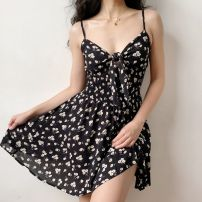 Dress Spring 2020 Flowers on black background S,M,L,XL Short skirt singleton  Sleeveless V-neck High waist Decor Big swing camisole 18-24 years old LYQ00253 More than 95% other cotton