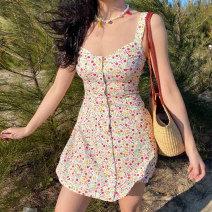 Dress Summer 2021 Broken flowers on a white background S,M,L,XL Short skirt singleton  Sleeveless street square neck High waist Decor Single breasted A-line skirt camisole 18-24 years old Type A Button, print LYQ00376 91% (inclusive) - 95% (inclusive) polyester fiber Europe and America