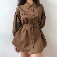 shirt White, light camel, dark coffee S,M,L Spring of 2019 other 71% (inclusive) - 80% (inclusive) Long sleeves Regular other Single row multi button routine Solid color 18-24 years old High waist type LYQ00043 pocket