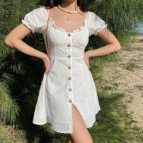 Dress Spring 2020 white S,M,L,XL Short skirt singleton  Short sleeve street square neck High waist Single breasted A-line skirt puff sleeve Others 18-24 years old Type A Button LYQ00251 More than 95% other cotton