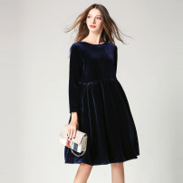 Dress Spring 2020 Navy, dark purple, black, coffee, powder S,M,L,XL,2XL Mid length dress singleton  Long sleeves commute Crew neck middle-waisted Solid color A-line skirt routine Others 30-34 years old Type A Original book Retro pocket More than 95% other other