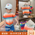 T-shirt Orange blue bar, rainbow bar, pink blue bar Yiqi baby 90cm,100cm,110cm,120cm,130cm male summer Short sleeve Crew neck leisure time There are models in the real shooting nothing cotton stripe Cotton 95% polyurethane elastic fiber (spandex) 5% YA12TX001 other