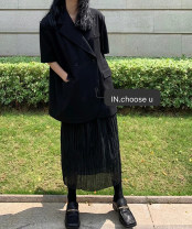 skirt Summer 2021 S,M,L black longuette commute Pleated skirt Solid color Type H 25-29 years old 51% (inclusive) - 70% (inclusive) other polyester fiber pocket Retro