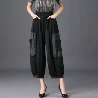 Casual pants black XL (2'4-2'6) waist, 2XL (2'6-2'8) waist, l (2'4-2'3) waist, 3XL (2'8-3'0) waist Summer 2021 Ninth pants Wide leg pants High waist Versatile Thin money 81% (inclusive) - 90% (inclusive) XYHH001 Sleeve shadow polyester fiber pocket polyester fiber