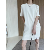 Dress Spring 2021 Cream apricot, greyish green S, M longuette singleton  Short sleeve commute Crew neck Loose waist Solid color Socket A-line skirt routine 25-29 years old Type H Korean version Splicing 51% (inclusive) - 70% (inclusive) other polyester fiber