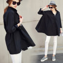 shirt White, black S,M,L,XL Autumn 2020 cotton 96% and above Long sleeves commute Medium length square neck Single row multi button shirt sleeve Solid color 25-29 years old Straight cylinder describe literature EA5140 Stitching, pleating, buttons