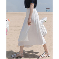 skirt Summer 2020 S, M Tea white, Napoli yellow Mid length dress commute High waist Irregular Solid color Type A 18-24 years old DS7281 31% (inclusive) - 50% (inclusive) other Mixd / Meiding cotton Zipper, stitching Korean version