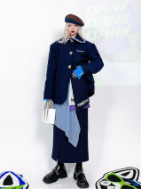 woolen coat Winter 2020 S,M,L Navy [coat], Navy [skirt] polyester 95% and above Medium length street Single breasted routine Straight cylinder Pinkspink / President 18-24 years old neutral