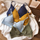Bras Triangle cup (bikini) Detachable shoulder strap Rear double row buckle Wireless  Triangle cup PrachtigDemaan Young women Upper support Thin cup Sponge mat Solid color Simplicity One piece cotton Modal fabric Erect cotton cotton cotton cotton