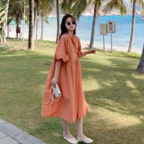 Dress Summer 2020 Orange S,M,L Mid length dress singleton  Short sleeve commute Crew neck Loose waist Socket other bishop sleeve Others Korean version C233