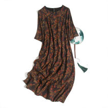 Dress Spring 2021 Saffron with black background and yellow leaves M,L,XL Mid length dress singleton  three quarter sleeve commute V-neck Loose waist Socket routine Type H Pu Xu Retro A1018 More than 95% silk