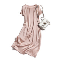 Dress Summer 2020 Pink bubble satin skirt 160/84B(M),165/88B(L),170/92B(XL) Mid length dress singleton  Short sleeve commute Crew neck Loose waist Socket routine Type H Pu Xu Retro A0600 More than 95% silk