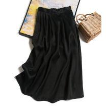 skirt Spring 2021 160/68B(M),165/72B(L),170/76B(XL) Black muslin skirt Mid length dress commute High waist A-line skirt Type H F0041 More than 95% Pu Xu silk fold Retro