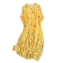 Dress Spring 2021 Grass green embroidered sunflower, yellow embroidered sunflower S,M,L,XL,2XL Mid length dress singleton  elbow sleeve commute V-neck Loose waist Solid color Socket routine Type H Pu Xu Retro A4691 More than 95% silk