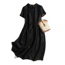 Dress Summer 2020 160/84B(M),165/88B(L),170/92B(XL) Mid length dress singleton  Short sleeve commute Crew neck Loose waist Socket routine Type H Pu Xu Retro More than 95% silk