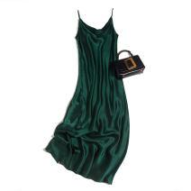 Dress Spring 2021 Dark green satin 160/84B(M),165/88B(L),170/92B(XL) Mid length dress singleton  Sleeveless commute Loose waist Socket camisole Pu Xu Retro B0100 More than 95% silk