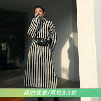 Dress Winter 2020 Black and white stripes S, M longuette singleton  Long sleeves street stand collar middle-waisted stripe Socket routine 18-24 years old Type H SY70MY11104