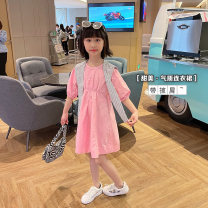 Dress Lotus root Pink female Other / other 110cm ( 7 yards ), 120cm (9 yards) , 130cm ( 11 yards ), 140cm ( 13 yards ), 150cm ( 15 yards ), 160cm ( 17 yards ) Cotton 95% polyurethane elastic fiber (spandex) 5% summer Solid color cotton A-line skirt Class B